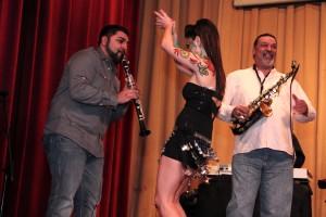 On stage antics of the Yuri Yunakov Bulgarian wedding band with Sal Mamudovski on clarinet