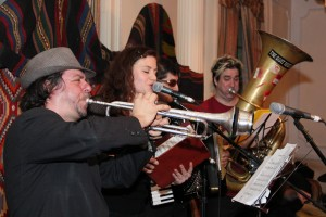 Frank London, Eva Salina Primack, Peter Stan, and Ron Caswell play smoky Balkan songs